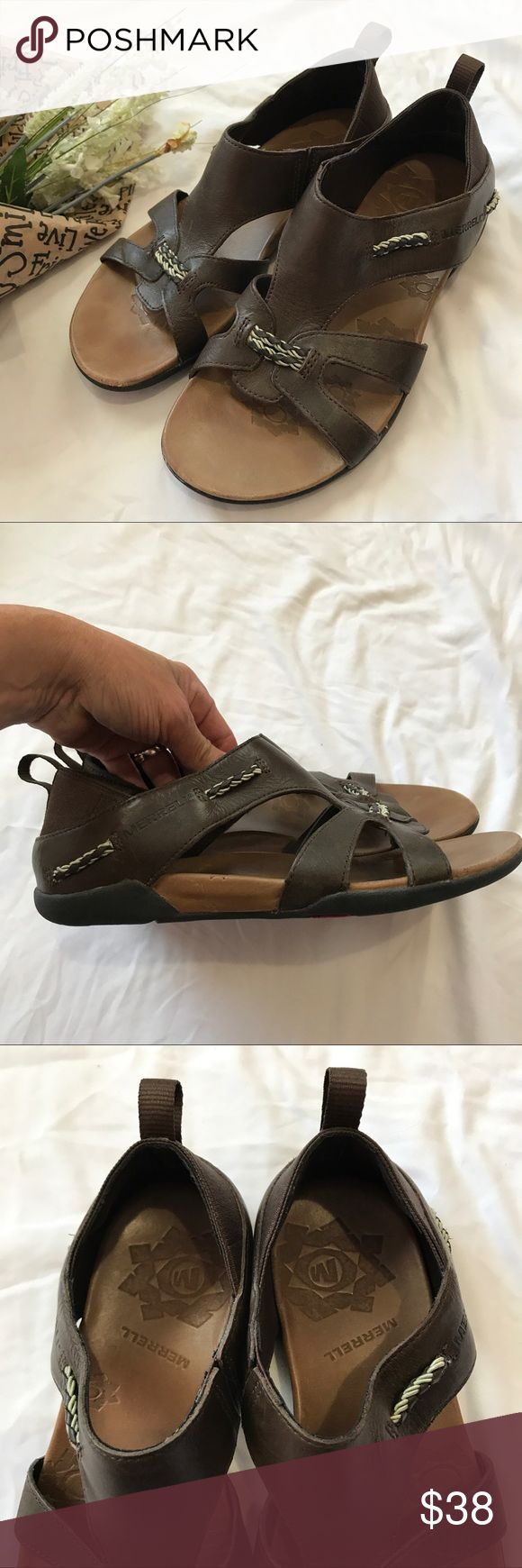 MERRELL Sandals Like new. Worn once. Brown leather. Size 7M. **Price firm. Merrell Shoes Sandals