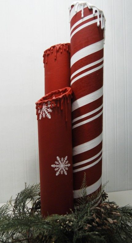 giant fake candles made from cardboard tubes and glue gun glue {burton avenue at craft gossip}