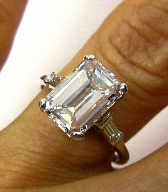 GIA 3.00ct Estate Vintage Emerald Cut Diamond  with 2 Baguettes in Platinum - sold