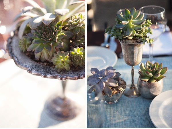 Easy to care for succulents and now days, we the artificial  ones looks like real. Blended with vintage silver, stunning.