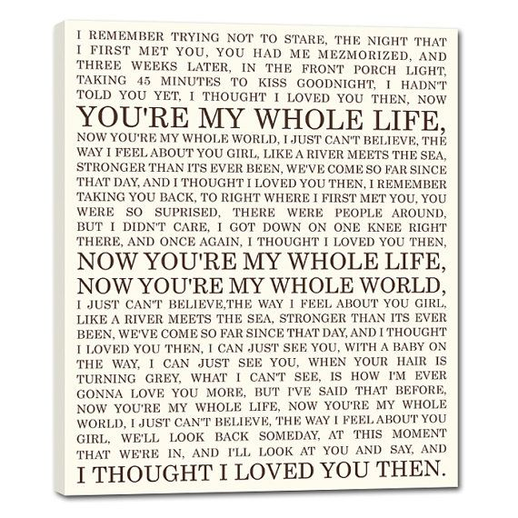 Personalized Lyrics Or Love Story For Him Or Her Canvas