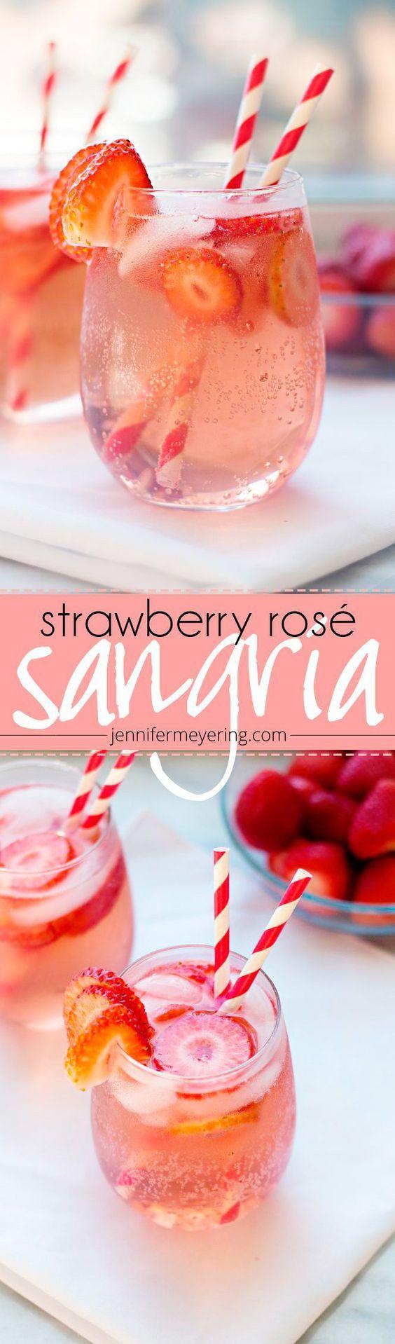 Strawberry Rosé Sangria. Try with an award-winning Missouri rosé wine!