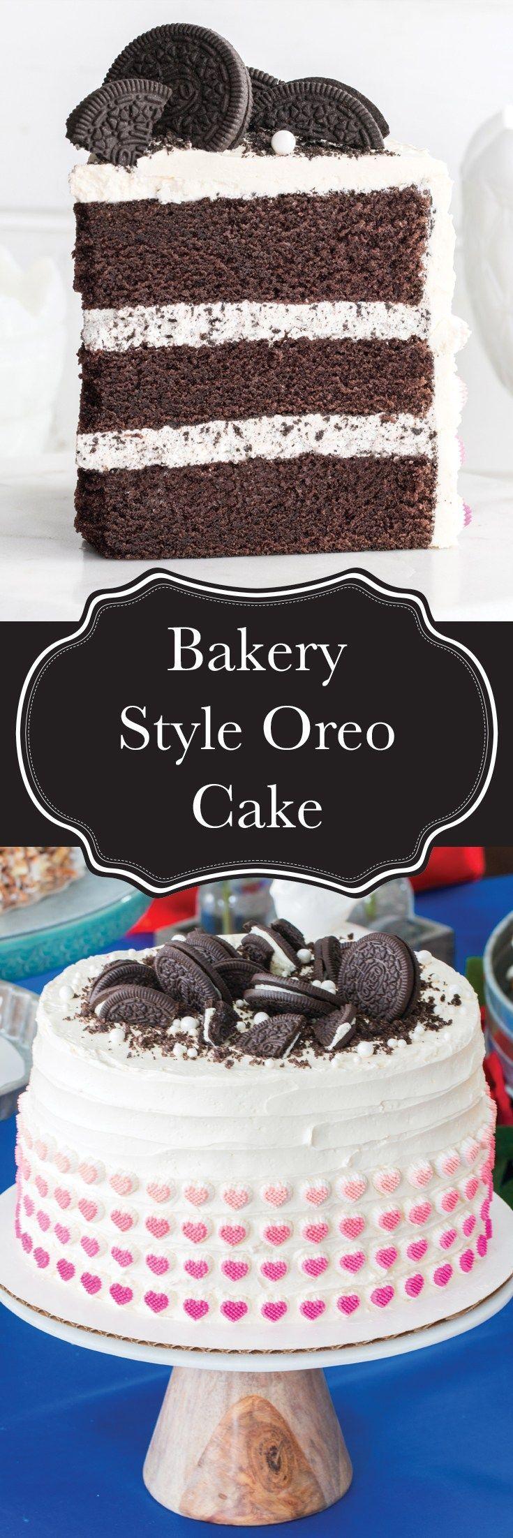 Ein Oreo-Kuchen im Bäckereistil, den Sie zu Hause backen! Reichhaltiger und feuchter Schokoladenkuchen … – #Bäcker …  – Cake Recipes Nutella Ideen