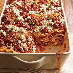 Greek Lamb and Feta Lasagna  - says it's a 50/50 beef and lamb mixture so that the lamb isn't too overpowering. I think it would have been fine with all lamb! Also, make sure you use decent quality no-boil noodles.
