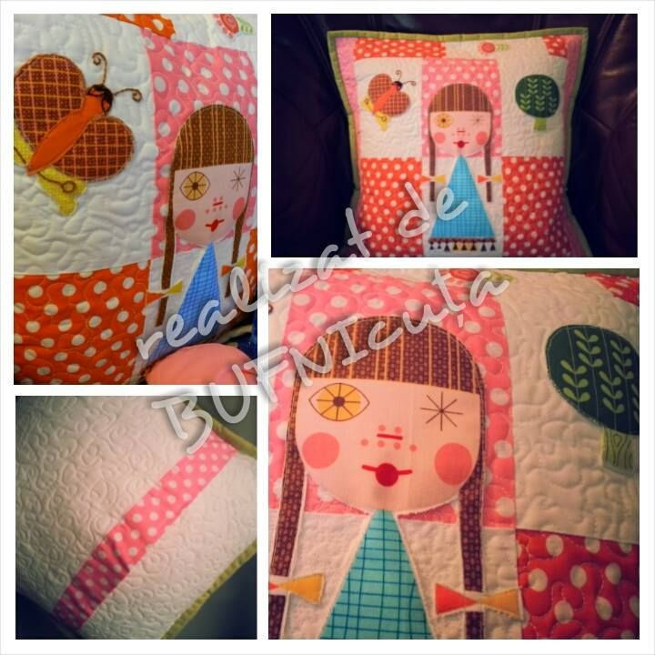 Happy fresh quilted pillow