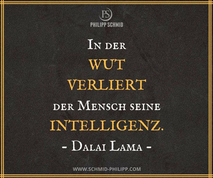 In der Wut verliert der Mensch seine Intelligenz. - Dalai Lama -