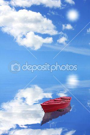 красная лодка — Стоковое фото © caravana #10737849