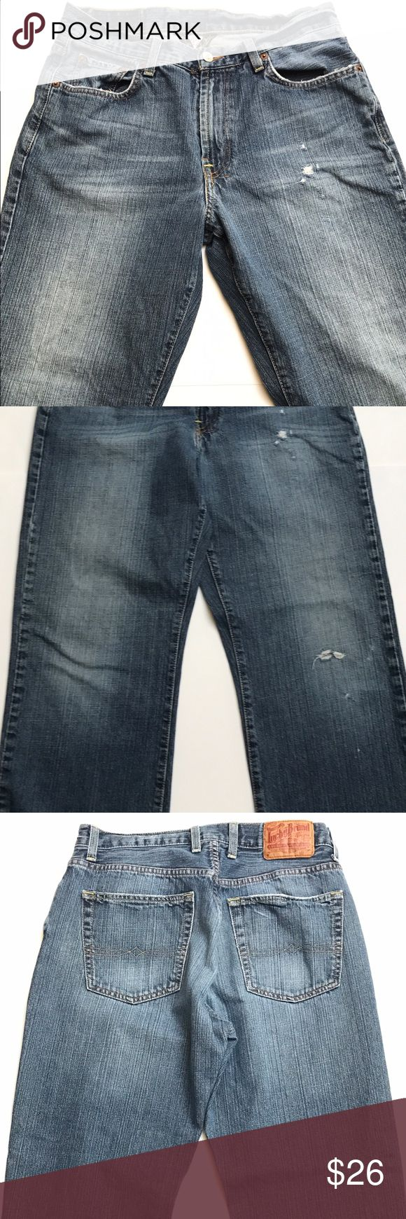 "Lucky Brand Gene Montesano Classic Fit Dungarees Lucky Brand Gene Montesano Classic Fit Dungarees Men's Jeans 32 X 29 Pre-owned but in good condition and no stains from a smoke free home. Rise: 10.5"" Lucky Brand Jeans Straight"