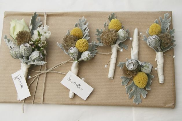 Billy buttons and scabiosa seed heads for the boys | ginger lily & rose floral studio | sunshine coast wedding florist