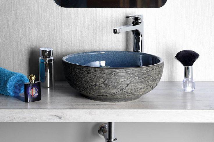 PRIORI keramické umyvadlo, průměr 41cm, 15cm, modrá/šedá, SAPHO E-shop