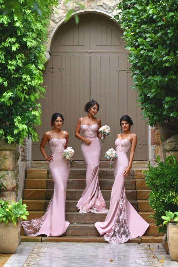 Spaghetti Straps Lace Satin Bridesmaid Dresses Skirt Train Lace Appliques Blush…