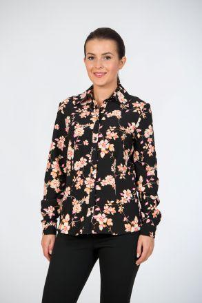 Camasa neagra pentru femei, cu imprimeu floral si maneci lungi. Combinatia de culori si imprimeurile florale ii dau un aer romantic care se va reflecta inclusiv in tinuta ta.