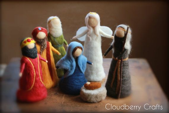 Complete Nativity Set Needle felted by CloudBerryCrafts on Etsy