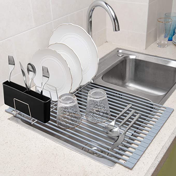 Amazon Com Sanno Over The Sink Multipurpose Roll Up Dish Drying Rack Dishes Drying Holder Stainless Steel Sink In 2020 Dish Rack Drying Sink Drainer Sink Dish Rack