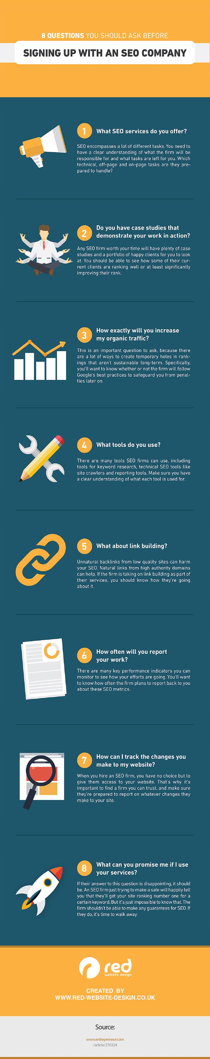 8 Questions To Ask Before Using An SEO Company - If you are thinking about using an SEO company to help optimize your website you need to ask them these 8 questions before you start the collaboration. - #infographic