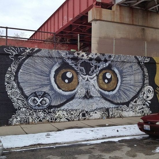 graffiti street art owl. i want this on the side of my house!
