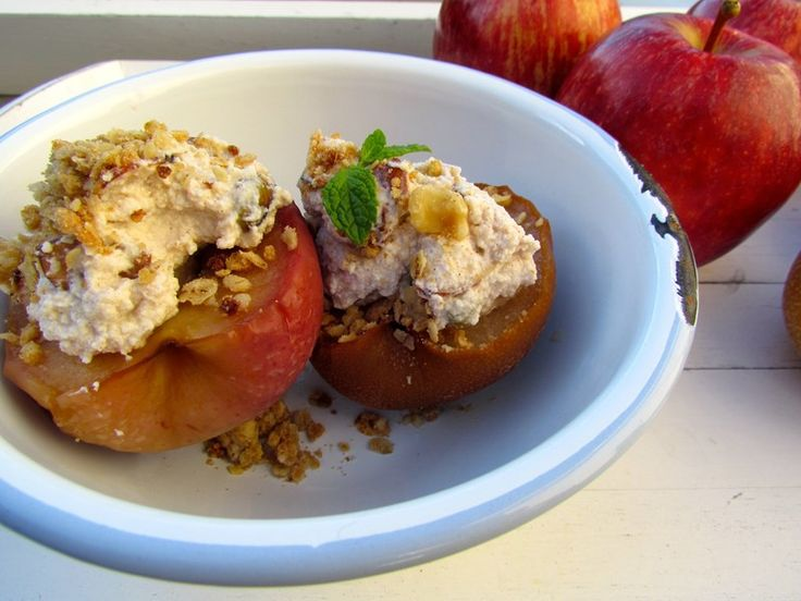 Cinnamon Baked Apples and Nashi Pears with Ricotta and Almond - Great for Autumn