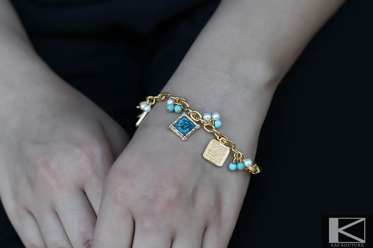 KAZ KOUTURE: Charm Bracelet w/ Ayat-al-Kursi #kazkouture #fashion #bracelet #goldplated #jewelry #accessories #armcandy #princess #fashionista #turkish #arabiccalligraphy #muslimfashion #abaya #hijabi #hijab #arabfashion #scarf #muslim