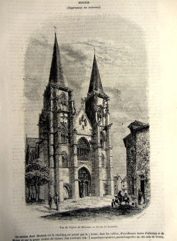 1852 Vintage Church of Notre dame Mouzon by LyraNebulaPrints, $22.00