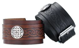 Celtic warriors would bind their wrists with leather, both for practical support and for the feeling of strength, the invocation of the animal power still in the hide. Leather wristband made in Ireland. $40