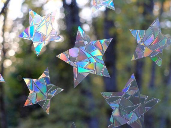 Star Window Gems Rainbow Prisms Static Window Clings Alert Birds To Windows Prevent Window Collisions Set Of 12 Decals In 2021 Window Clings Window Well Rainbow Prism