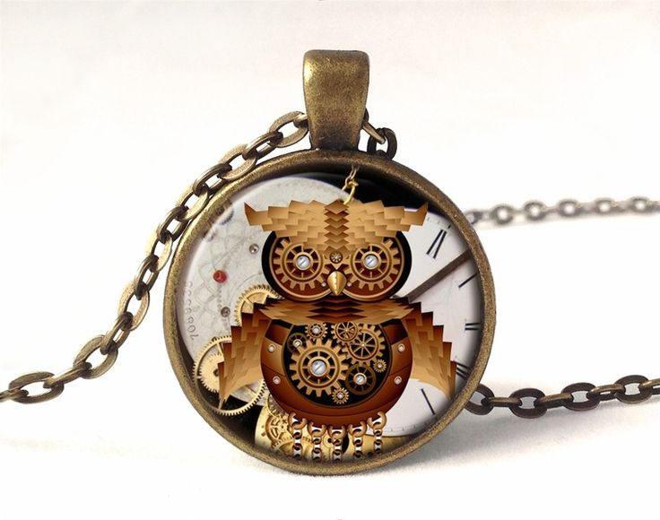 Steampunk owl necklace, 0581PB from EgginEgg by DaWanda.com