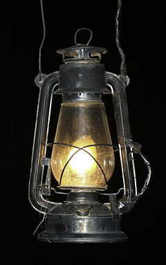 "The kerosene lamp (widely known in Britain as a paraffin lamp) is a type of lighting device that uses kerosene (British ""paraffin"", as distinct from paraffin wax or paraffin oil) as a fuel.  Polish inventor Ignacy Łukasiewicz in 1853 Lviv."