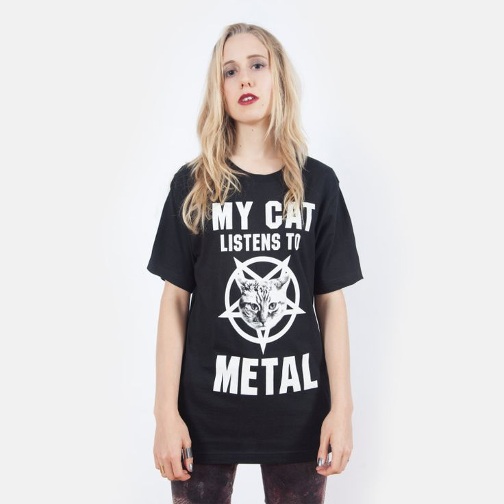 My Cat Listens to Metal Tshirt UNISEX sizes by killercondoapparel, $27.00 @Lucy Kemp White