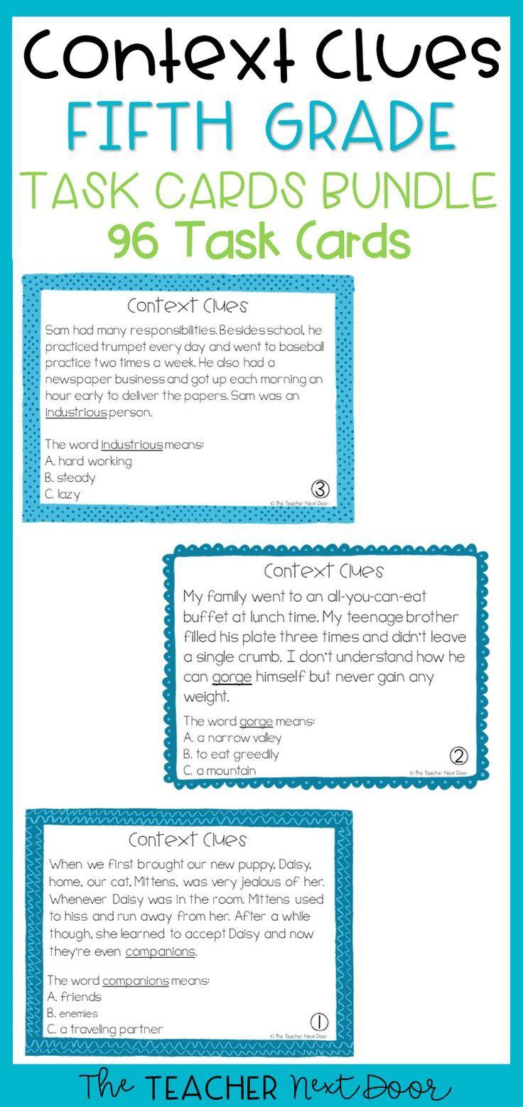 Context Clues Task Cards For 5th Grade Context Clues Task Cards Context Clues Worksheets Context Clues [ 1558 x 736 Pixel ]
