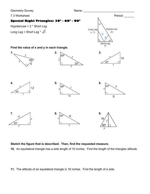 Answer Key Special Right Triangles Worksheet Answers in ...