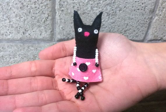Felt Cat Toy, Cute Little plush Cat, Handmade Felt Tiny Black cat, Felt Kitten, Art