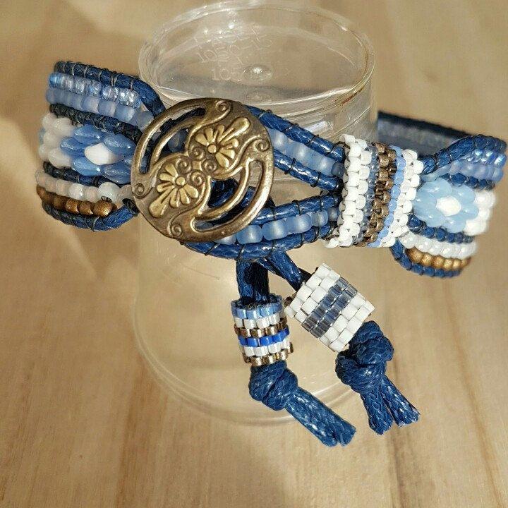 Bracelet armband miyuki toho super duo beads marine blue white