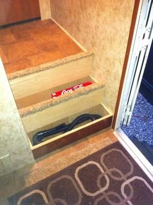 The interior stairs on many fifth wheels could use an upgrade. Come see these replacement RV stairs for a Keystone cougar 325SRX Fifth Wheel...
