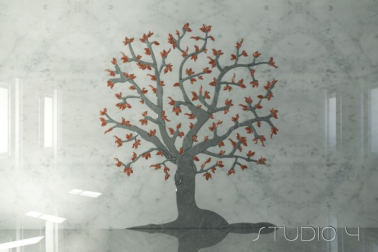 Marble 3D inlaid Wall Fall Tree