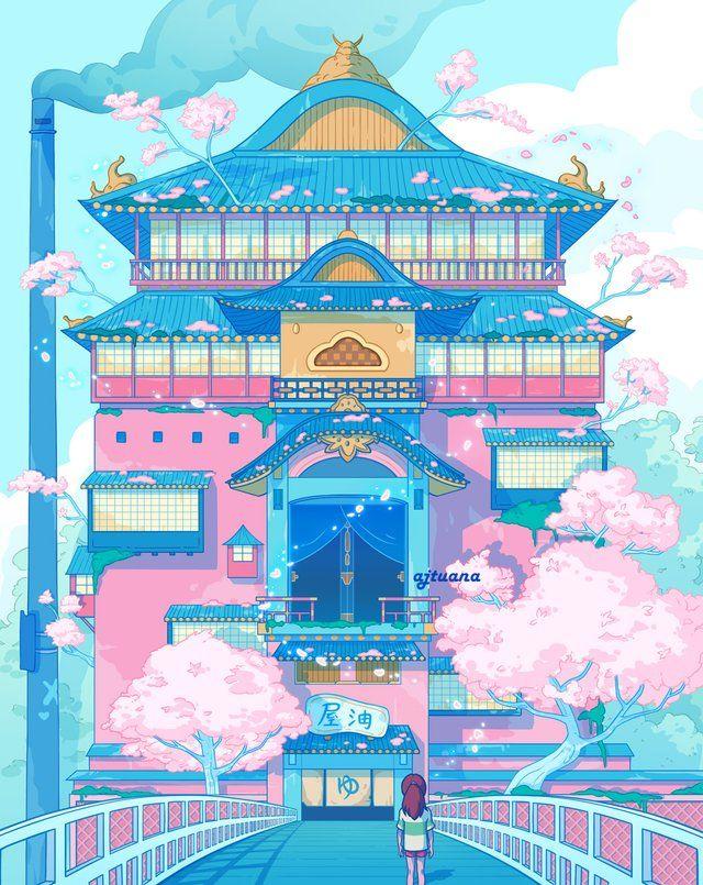 """Sakura Bathhouse"", a Spirited Away fan art by Ajtuana"