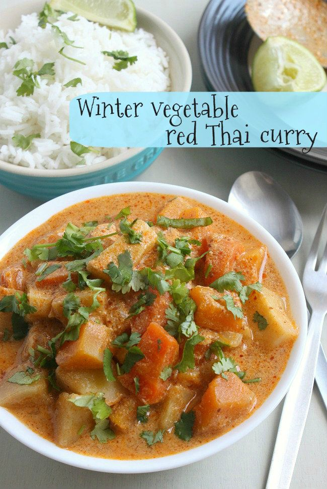 Winter Vegetable Red Thai Curry from Potluck @Oh My Veggies