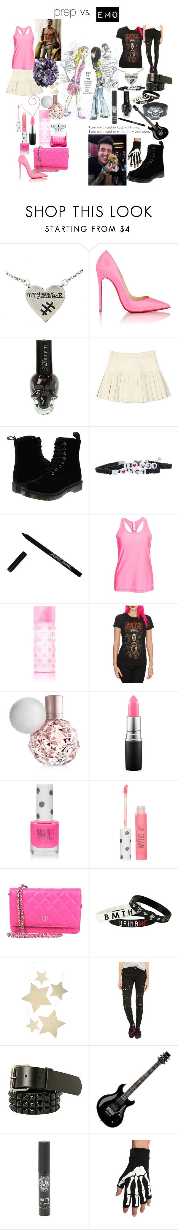 """""""emo vs prep"""" by katherinedeadmau5 ❤ liked on Polyvore featuring Hot Topic, Jimmy Choo, Christian Louboutin, Pam & Gela, Dr. Martens, Manic Panic NYC, Under Armour, MAC Cosmetics, Topshop and Bethany Lowe"""