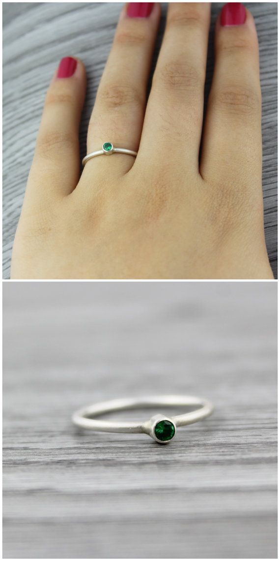 Emerald Birthstone Ring. Stackable Silver Ring. by TempestSociety