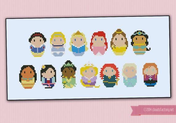 Storybook Princesses parody  Cross stitch PDF door cloudsfactory, $9.50