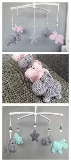 Crochet Hippo Animal Baby Mobile Free Pattern