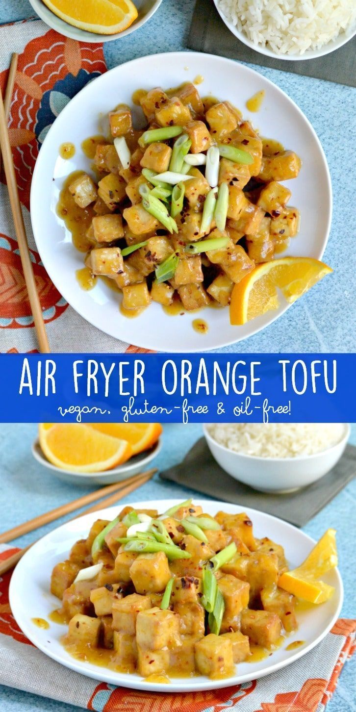 Air Fryer Orange Tofu (Oil-Free) is a lightened up version of the classic Chinese restaurant dish. #vegan #glutenfree #oilfree #orangetofu #tofu #stirfry #airfryer via @VeggiesSave