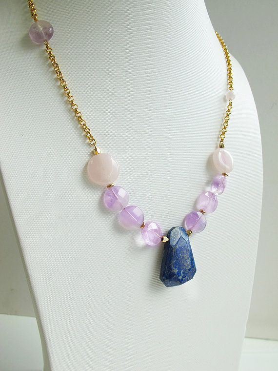 Natural #amethyst rose #quartz and #lapislazuli pendant necklace, candy color gemstone #collarnecklace, 24 K Gold chain, FREE shipping #newarrival #highquality #affordable #freeshipping #bead #beads #gem #gems #gemstone #gemstones #jewelry #jewellery #jewelrymaking #jewelrysupplies #jewelrysupply #etsy #farragem #design #designer #handcrafted #handmade #ring #necklace #earrings #bracelet #pendant