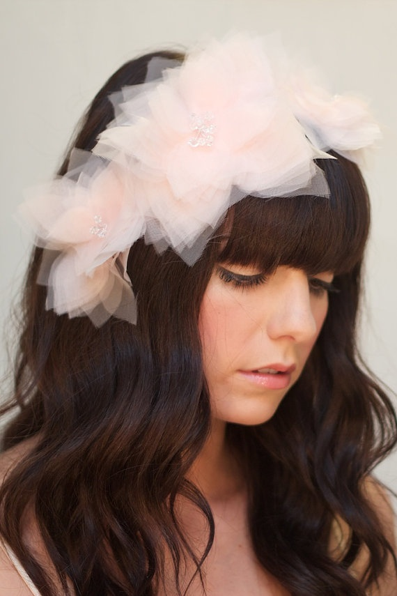 #wedding #hair #accessory #bridal #blush #flower