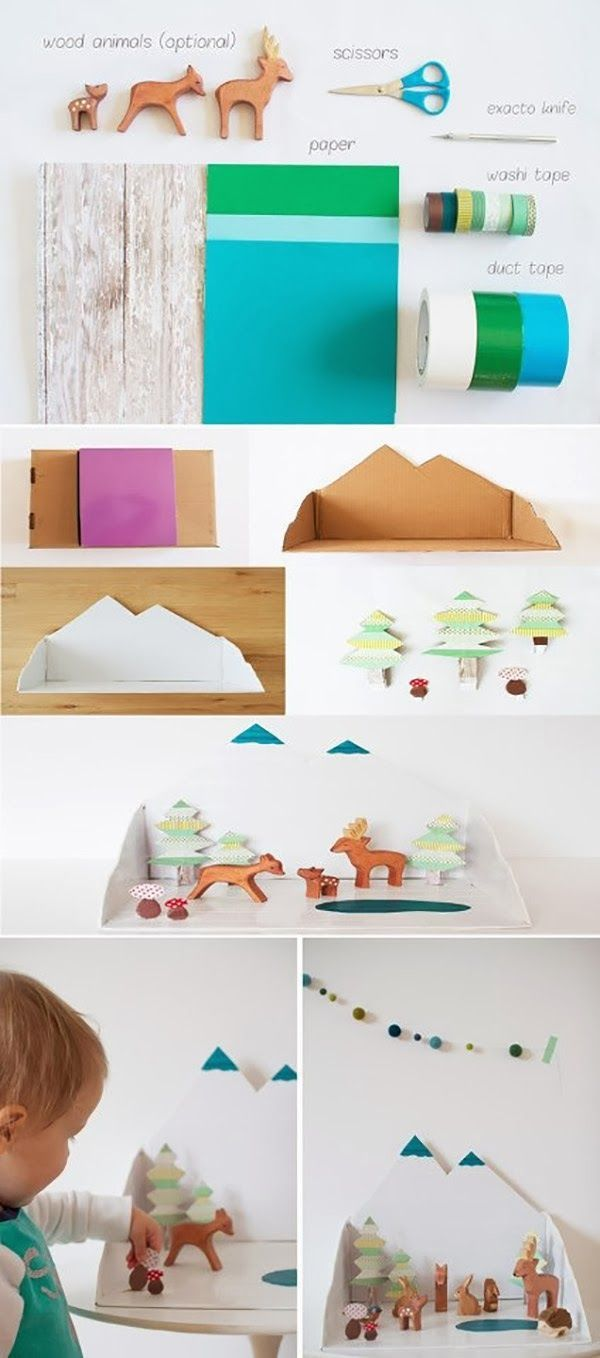Make a small winter diorama with simple materials from around the house!