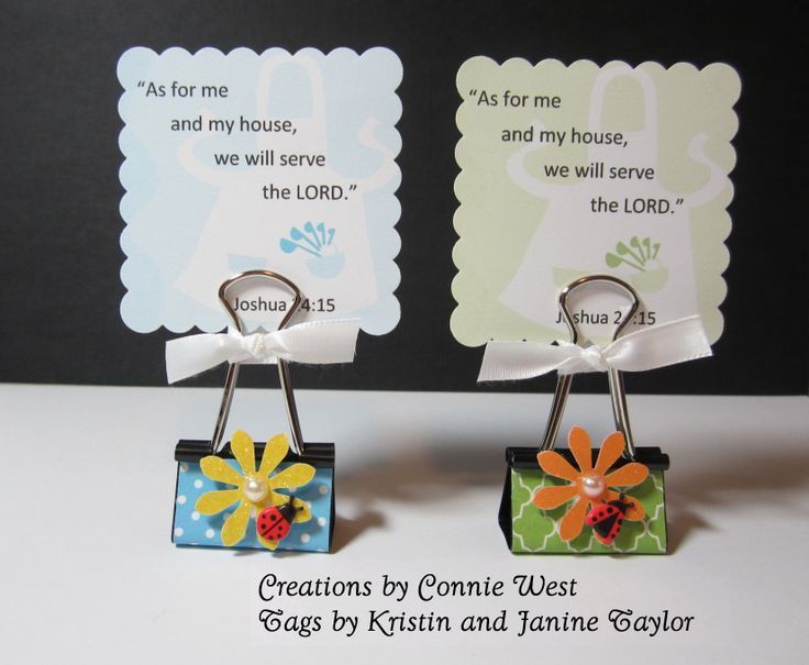 Binder clip party favor for a bible verse tag, photo or recipe card. Mod Podge was used to glue and seal the DSP. Embellishments were handmade.