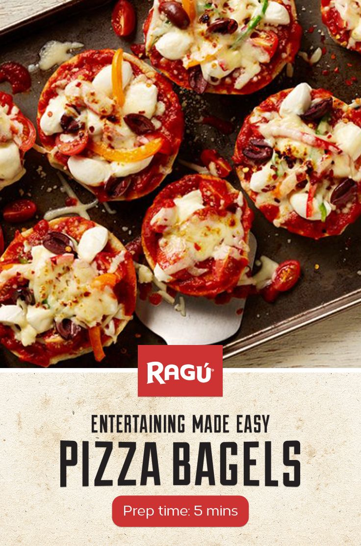 Celebrate National Pizza Day and National Bagel Day with this quick and easy recipe. Use RAGÚ Old World Style Traditional sauce to make these pizza bagels. It's a perfect recipe for kids to make too!