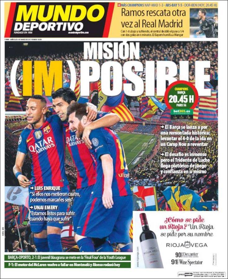 Portada del diario deportivo Mundo Deportivo (Bcn) del 08 de marzo de 2017