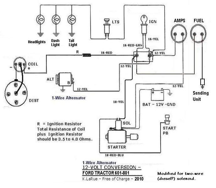801-12volt-1wire | projects to try | ford tractors, 8n ... 8n ford tractor 12 volt wiring diagram