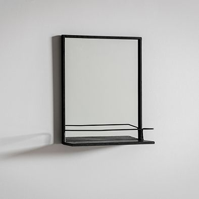 Buck matte Black Bathroom Mirror with shelf
