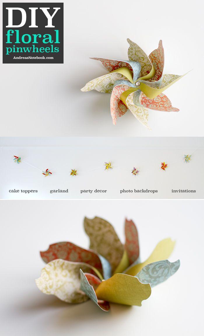 DIY floral pinwheels made with Cricut Explore -- Andrea's Notebook. #DesignSpaceStar Round 3